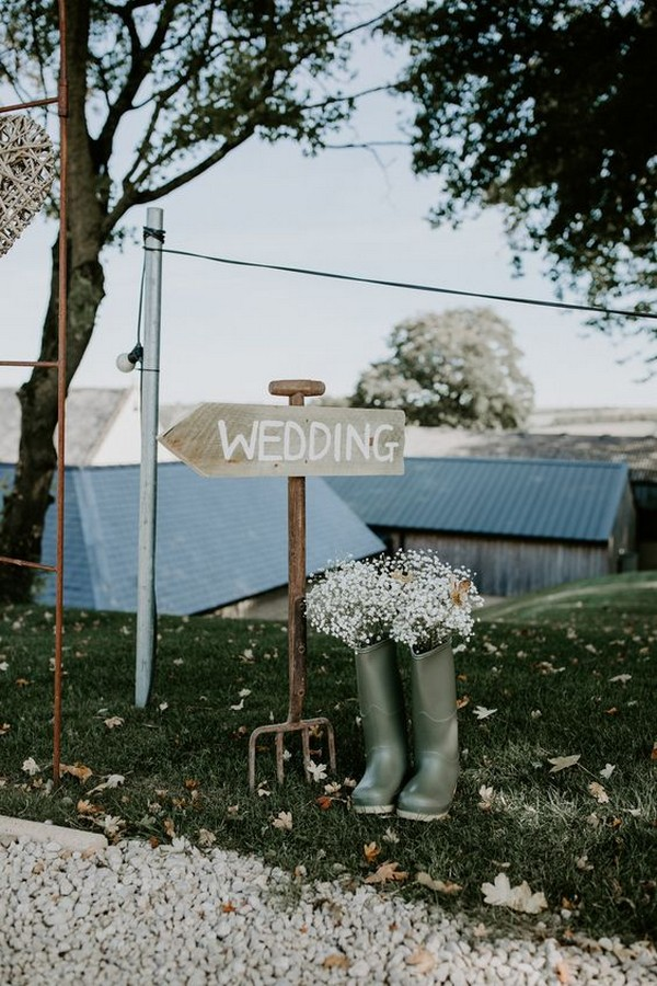 rustic wooden wedding sign for outdoor wedding