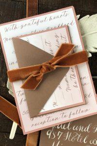 sunset orange fall wedding invitations