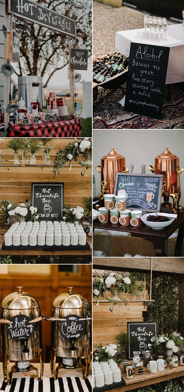 trending fall wedding drink bar decoration ideas