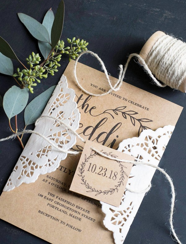 vintage rustic lace and burlap wedding invitations