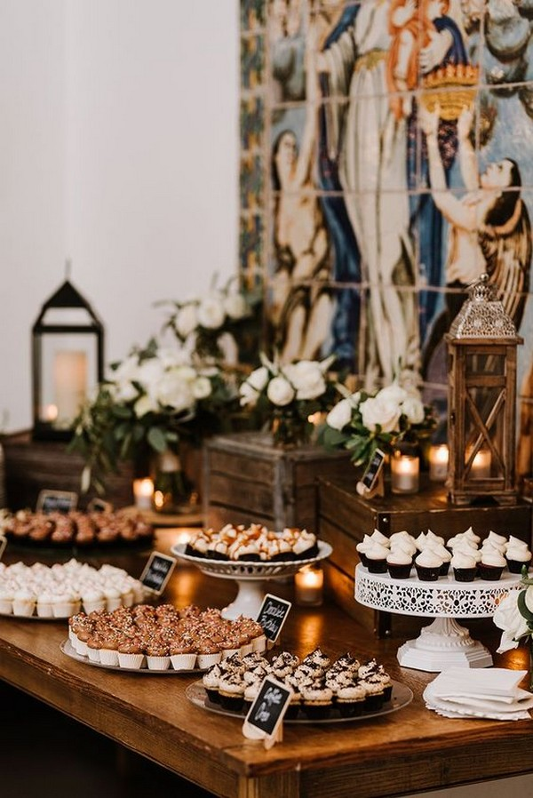 vintage rustic wedding dessert display ideas