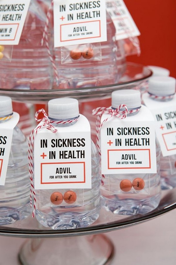 In Sickness and In Health drinking wedding favor ideas