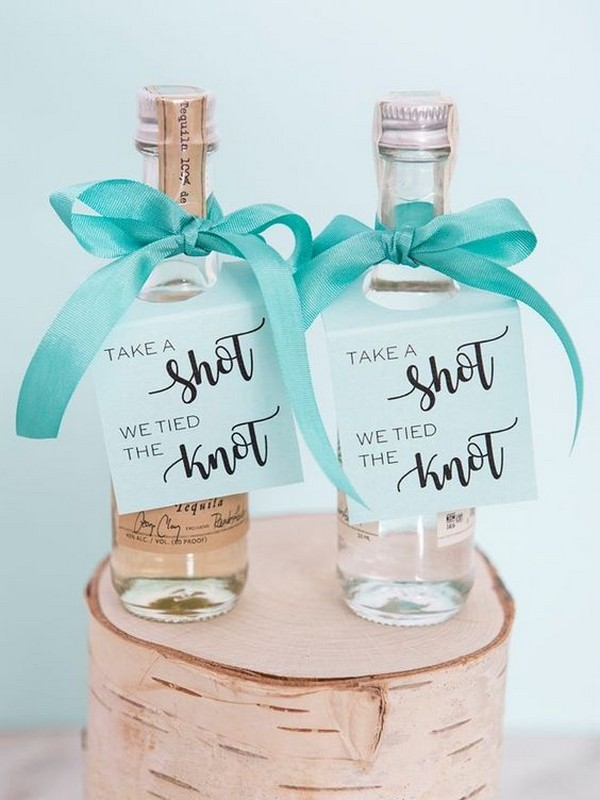 Mini-alcohol wedding favors with tags