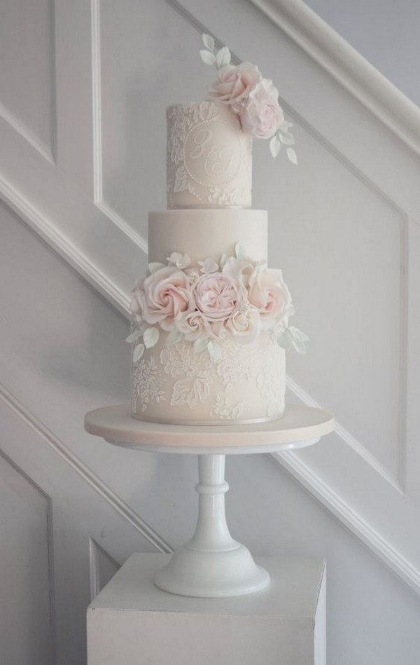 blush pink vintage wedding cake