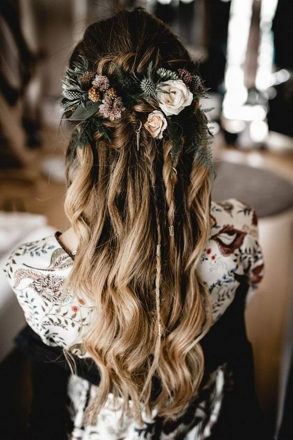 boho chic fall half up half down wedding hairestyles with flowers