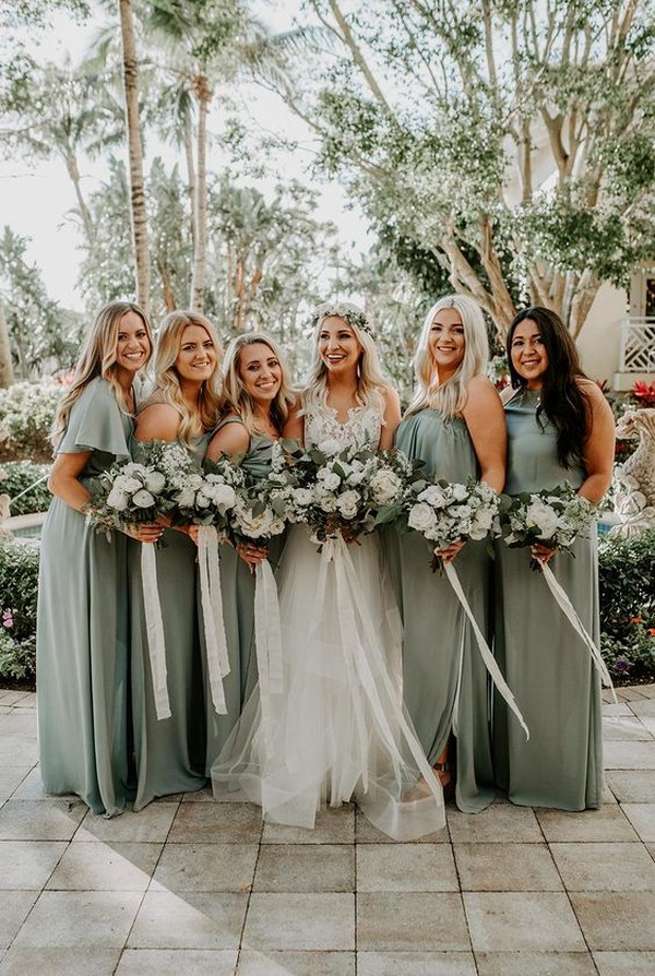boho chic neutral sage green bridesmaid dresses