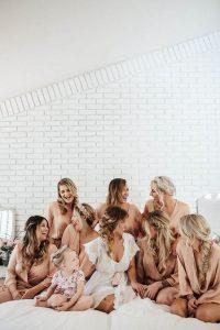 bridal party getting ready wedding photo