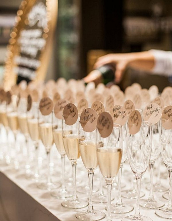 champagne wedding escort card table ideas