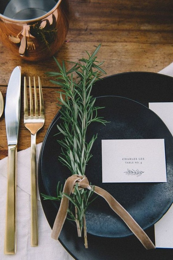 chic modern wedding place setting ideas