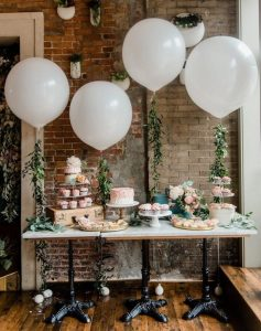 chic rustic wedding dessert table decoration ideas with balloons