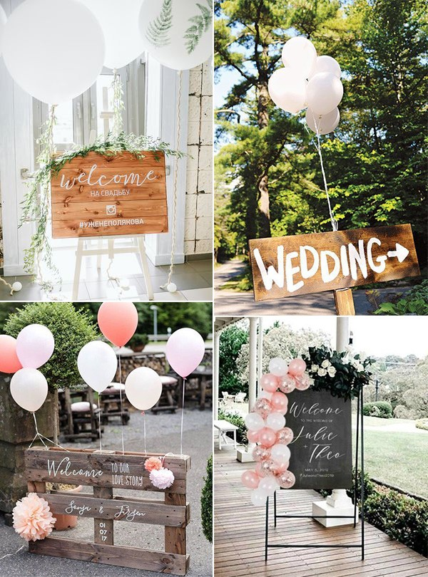 chic rustic wedding signs with balloon decorations