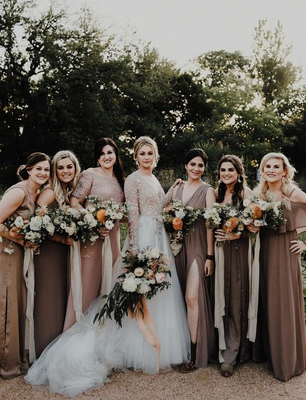 dark nude colors bridesmaid dresses
