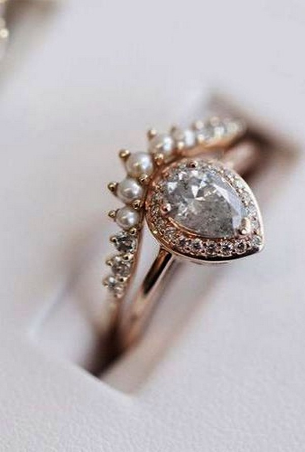 diamond and pearls vintage engagement ring