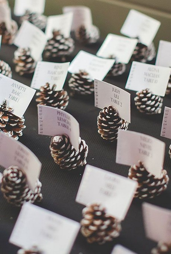 diy winter wedding escort card with pine cones