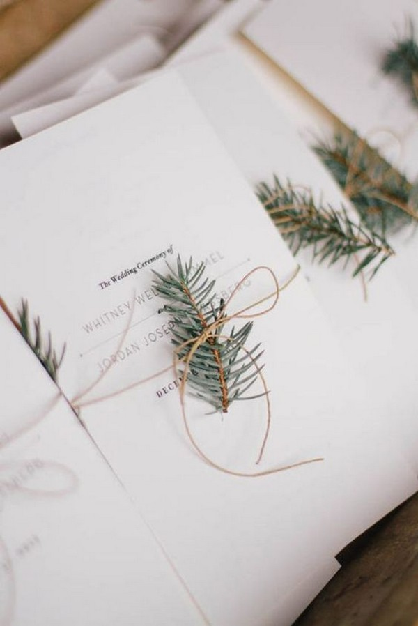 elegant evergreen winter wedding invitations