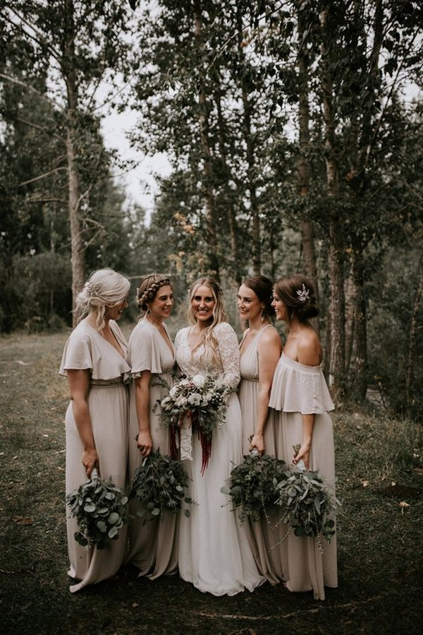 elegant neutral bridesmaid dresses