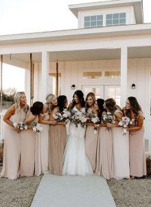 elegant neutral colors bridesmaid dresses