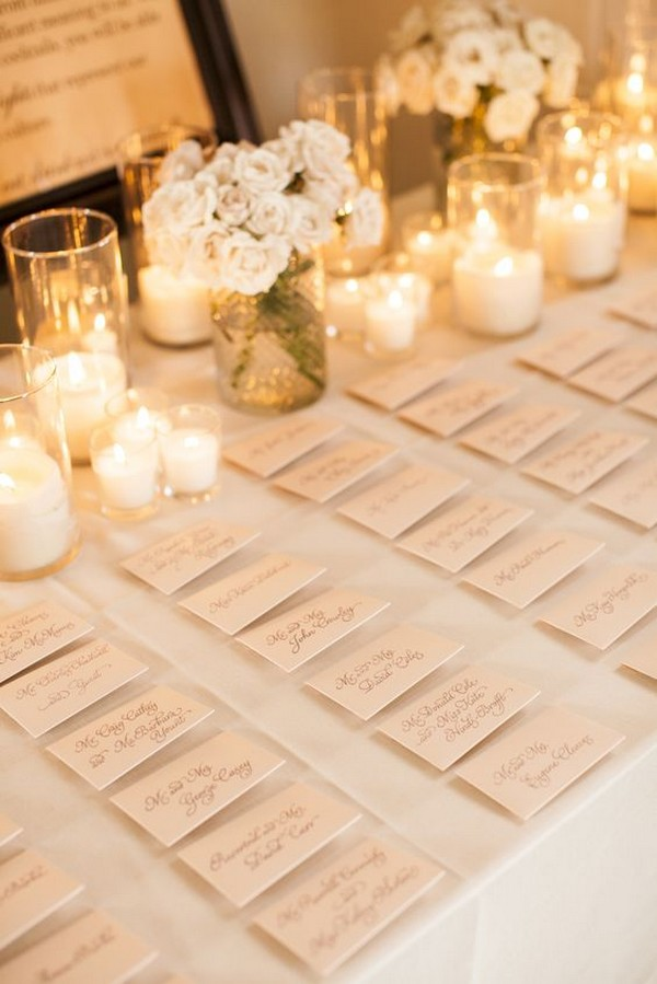 elegant romantic wedding escort card table decoration ideas