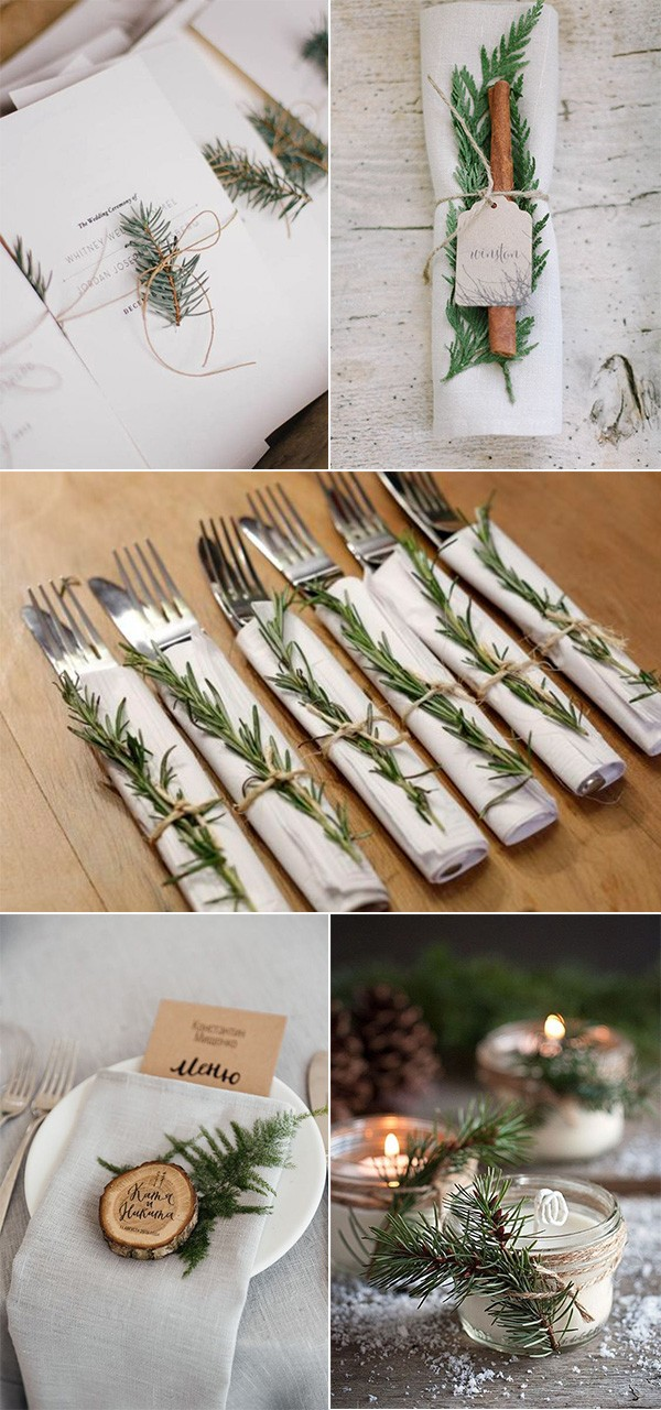 elegant winter evergreen wedding decoration ideas