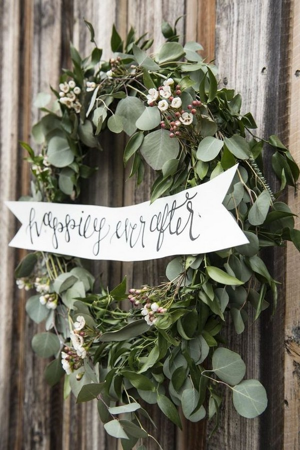 eucalyptus winter wedding wreath decorations