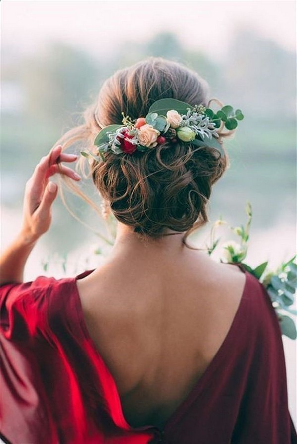 fall updo wedding hairstyle with fall flowers