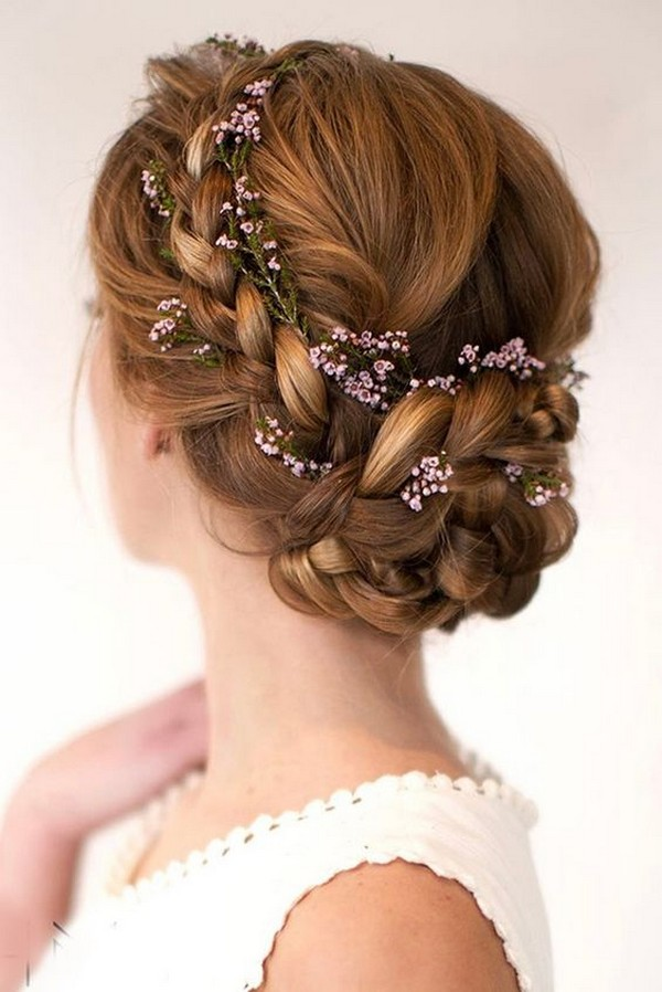 fall updo wedding hairstyle with flowers