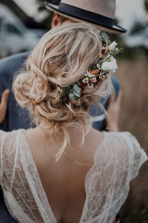 fall updo wedding hairstyles with flowers