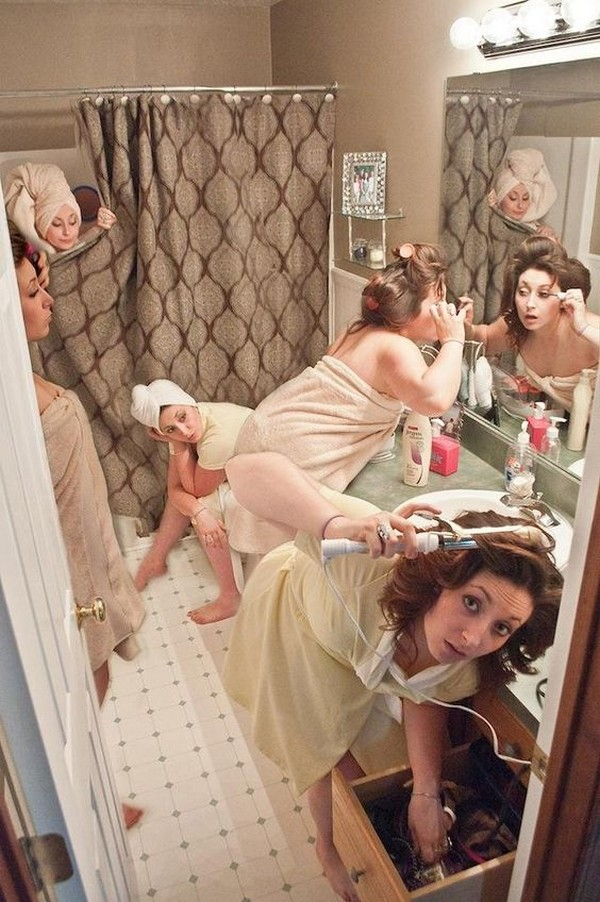 fun bridal party getting ready wedding photo
