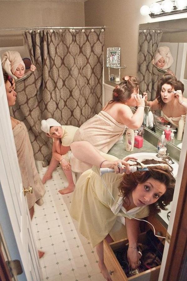 fun bridal party getting ready wedding photo