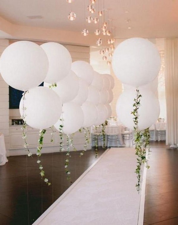 giant white balloon wedding aisle ideas