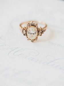 gold vintage diamond wedding engagement ring