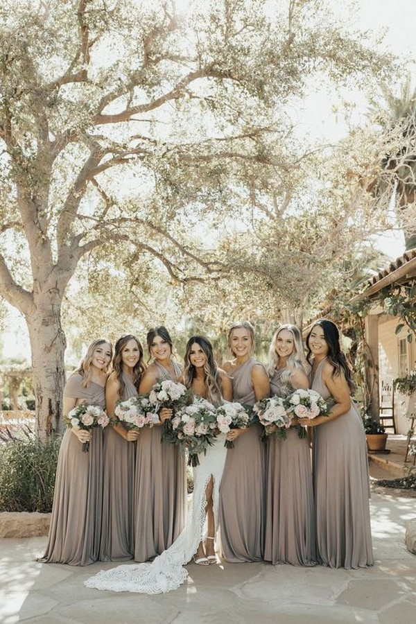gorgeous neutral bridesmaid dresses