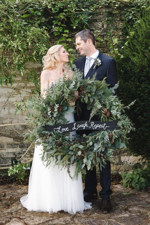 greenery wedding wreath for winter