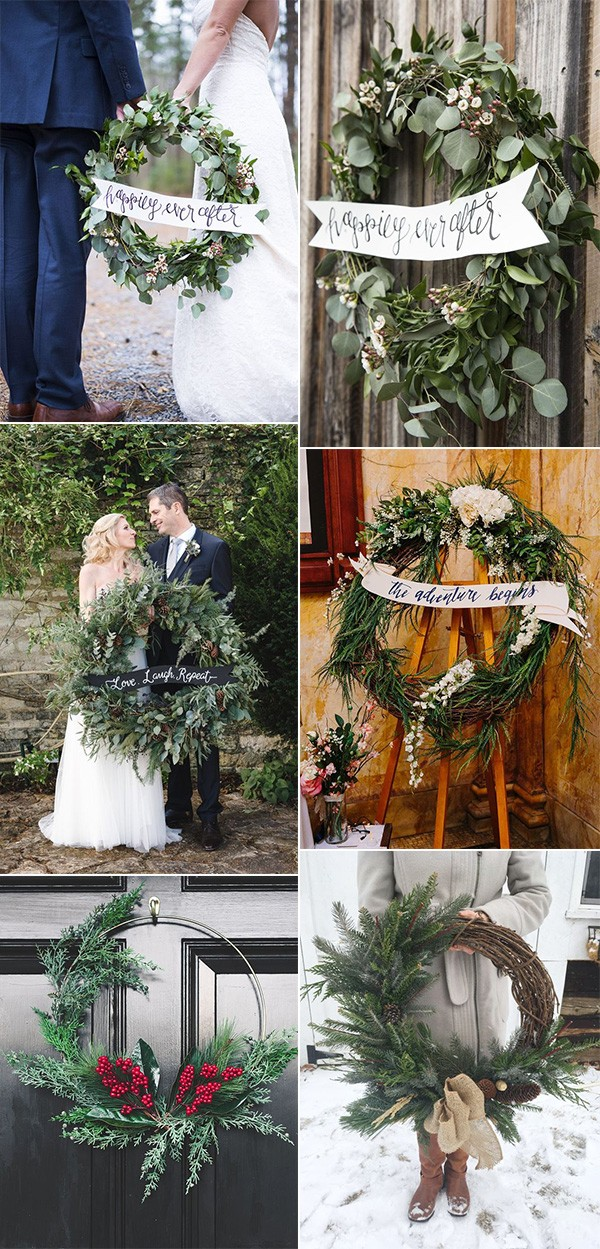 greenery wreaths winter wedding decoration ideas