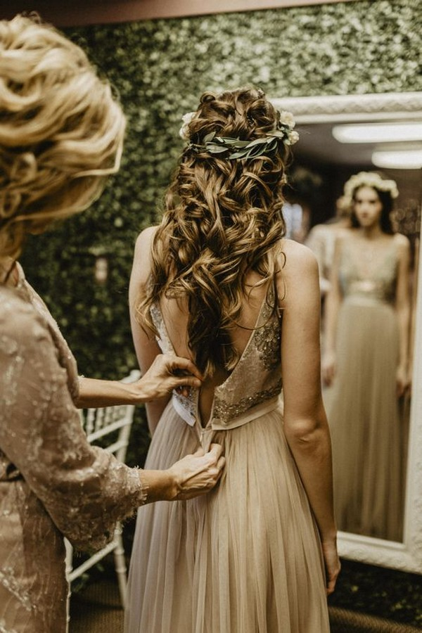 half up half down fall wedding hairstyles with flower crown