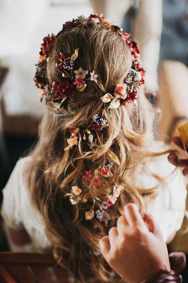 half up half down wedding hairstyle with fall flowers