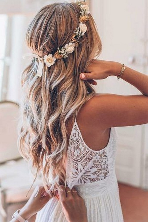 half up half down wedding hairstyles with flower crown