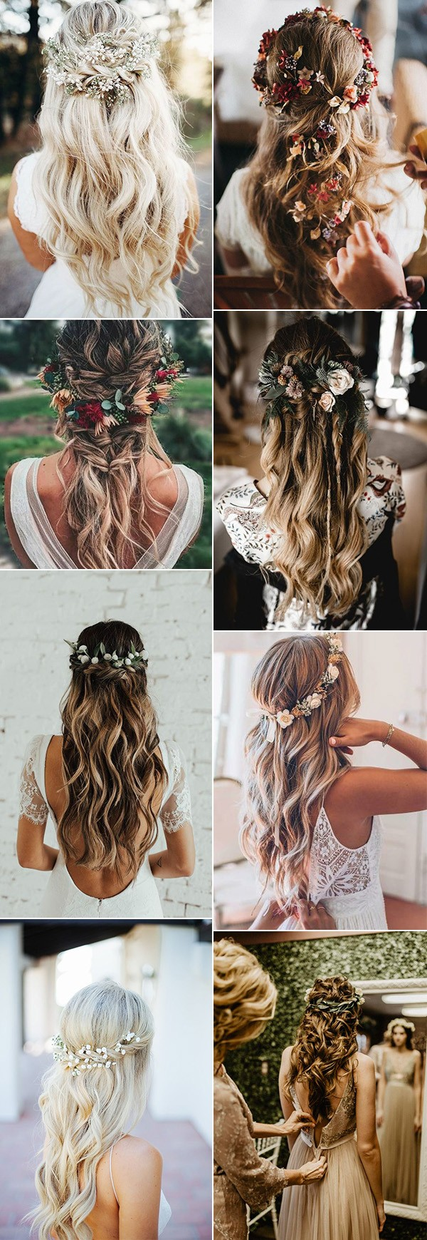 half up half down wedding hairstyles with flowers