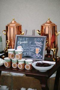 hot chocolate bar for winter wedding ideas