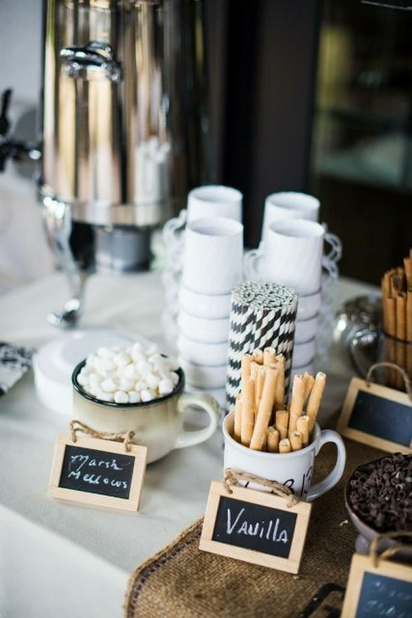 hot chocolate bar ideas for winter weddings