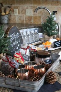 hot chocolate drink station for winter weddings