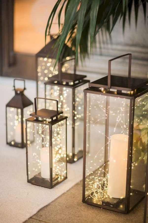 lantern winter wedding decoration ideas with candles and lights