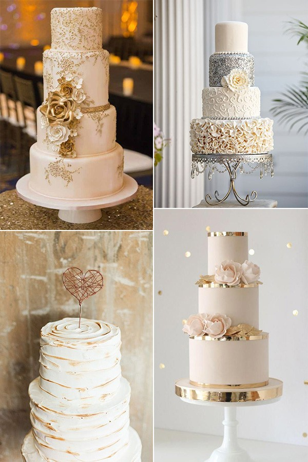 metallic vintage wedding cakes