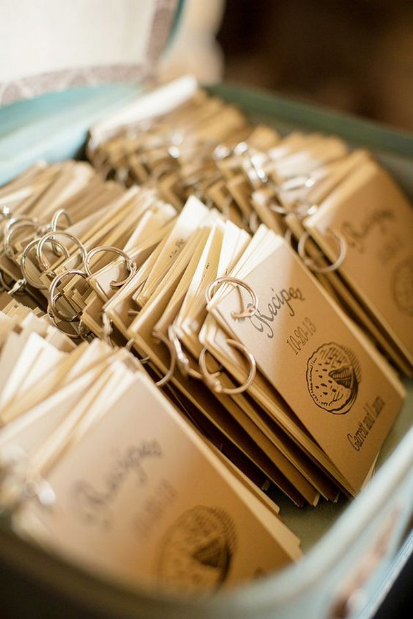 mini recipe books wedding favor ideas