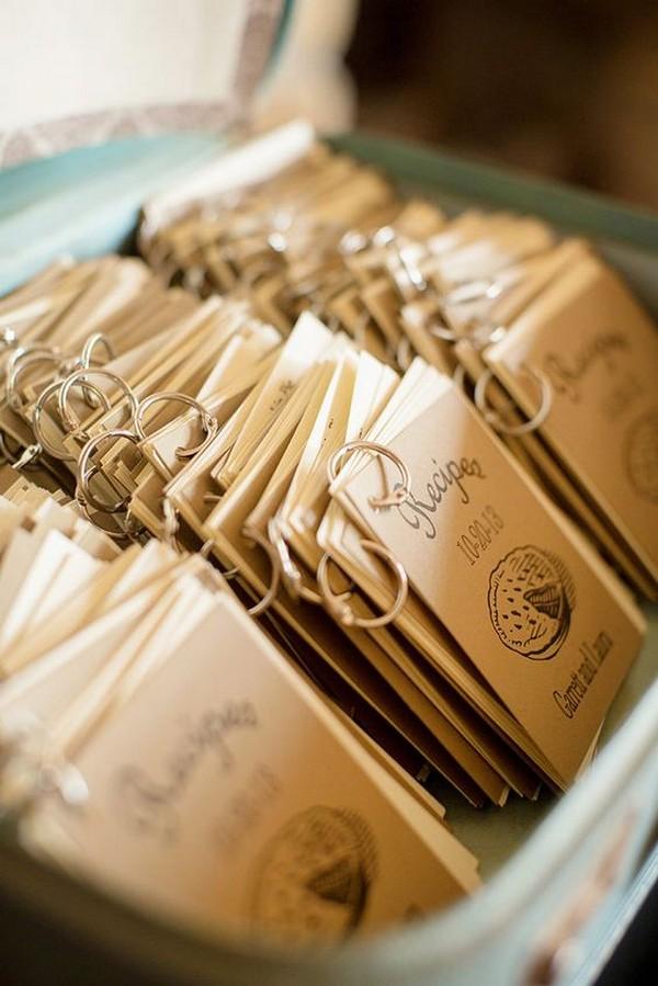 mini recipe books wedding favor ideas