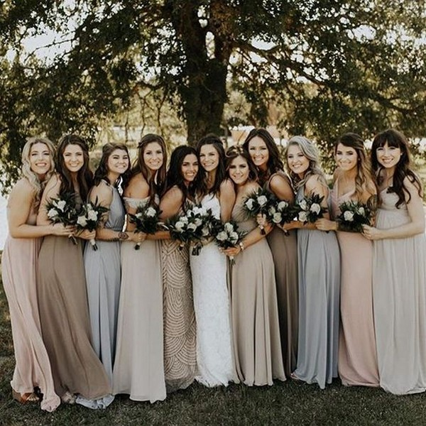mismatched alate and neutral bridesmaid dresses