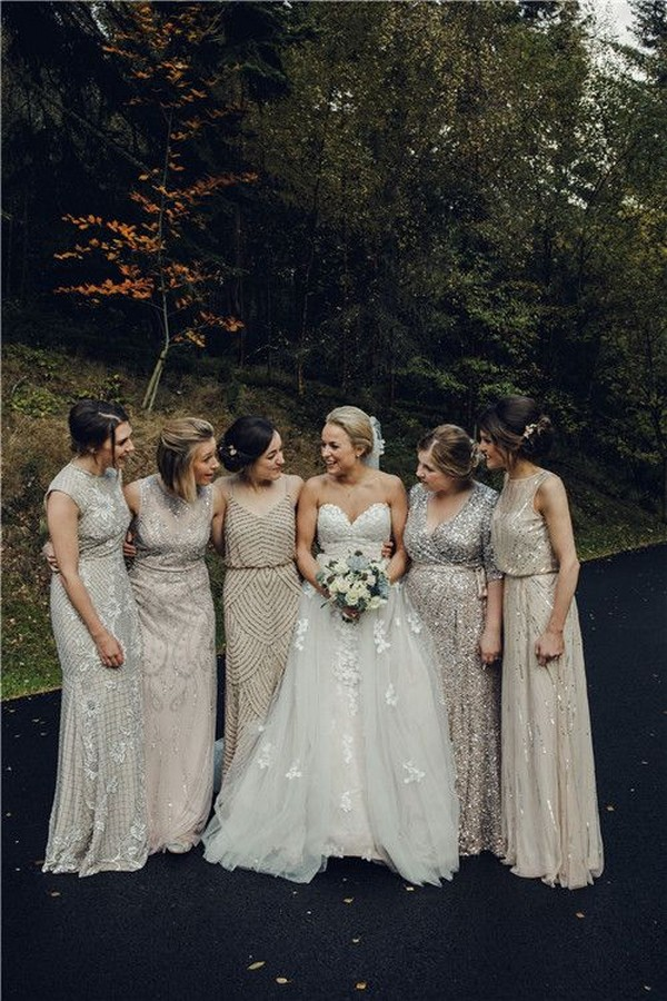 mismatched neutral sequins bridesmaid dresses
