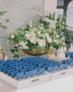 navy blue and gold themed wedding escort card table