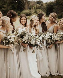 neutral champagne bridesmaid dresses