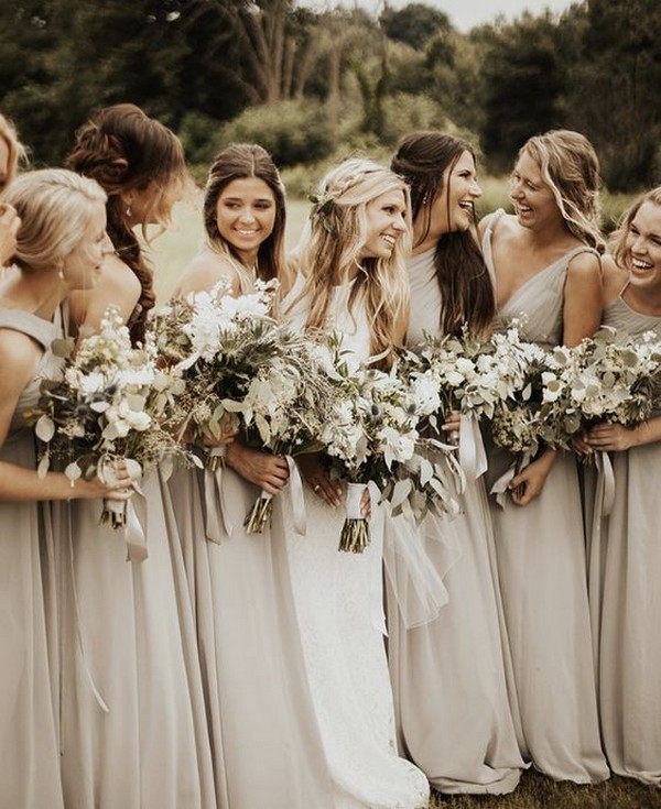 neutral champagne bridesmaid dresses
